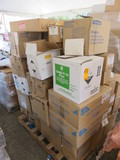 PALLET OF MICROFIBER MOP HEADS, POLYLITE LAB COATS, KC SKIN LOTION