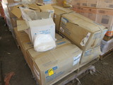 PALLET OF WHITE LAB COATS, BOUFFANT CAPS, SOAP DISPENSERS