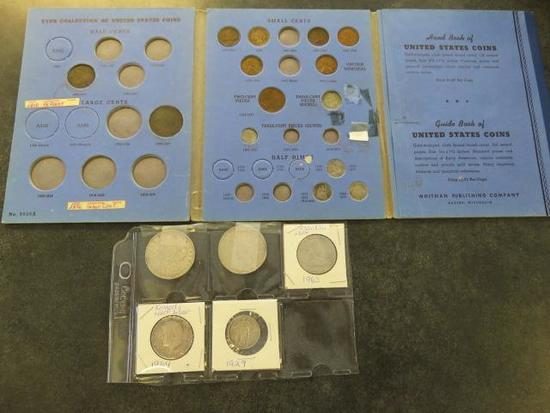 LOT OF U.S. COINS INCLUDING: ALBUM OF ASSORTED TYPES OF U.S COINS, (2) SILVER DOLLARS- 1921 & 1922
