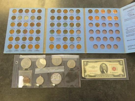 LOT OF U.S. COINS, $2 BILL & COMMEMERATIVE COINS: (3) EISENHOWER DOLLARS, KENNEDY HALF