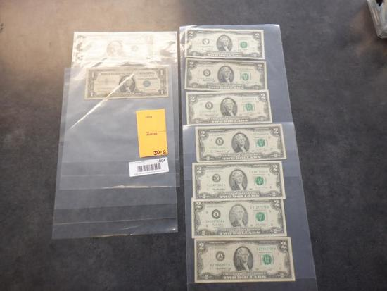 (7) TWO DOLLAR BILLS & (2) ONE DOLLAR BLUE SEAL BILLS