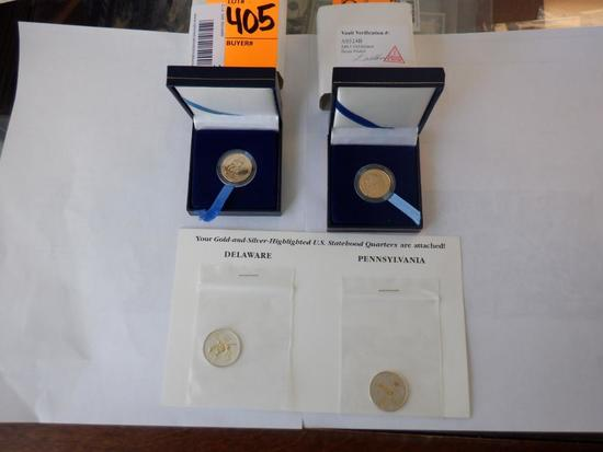 (2) GOLD PLATED NICKLES & (2) GOLD & SILVER -HIGHLIGHTED QUARTERS