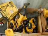 BOX OF DEWALT CORDLESS POWER TOOLS