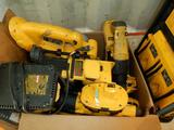 BOX OF TOTE OF CORDLESS DEWALT POWER TOOLS W/(2) BATTERIES & 1 CHARGER
