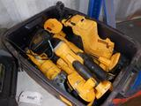 TOTE OF CORDLESS DEWALT POWER TOOLS W/(2) BATTERIES & 1 CHARGER