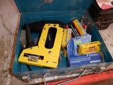 STANLEY PROSHARP SHOOTER TR 200, STANLEY TRE 300 ELECTRIC STAPLER/ NAILER W/(6) ASSORTED BOXES OF