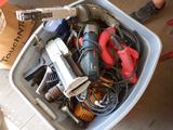 TOTE OF ASSORTED CORDED, CORDLESS & AIR POWER TOOLS