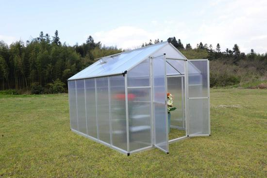 8' X 20' TWIN WALL ALUMINUM FRAME GREENHOUSE