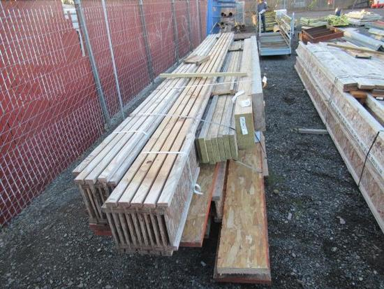 LOT OF ASSORTED FLOOR JOISTS & ASSORTED SIZE & LENGTH LSL BEAMS & BOARDS