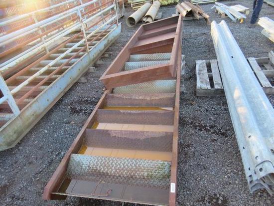 """15 STEP STEEL STAIRWAY (36"""" X 16' W/ 37"""" X 109"""" LANDING)"""