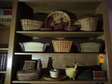 CONTENTS OF THREE SHELVES - ASSORTED WICKER DECOR