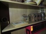 CONTENTS OF SHELF - CERAMIC VASE, SMALL CHEST, KEEPSAKE BOX, FRAMED TILE W/