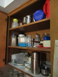 CONTENTS OF UPPER CUPBOARDS - ASSORTED DISHWARE