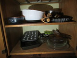 CONTENTS OF LOWER CUPBOARDS - ASSORTED COOKWARE