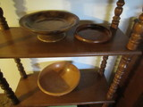 CONTENTS OF TWO SHELVES - WOOD BOWL DECOR