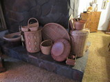 LARGE LOT OF ASSORTED WICKER BASKETS