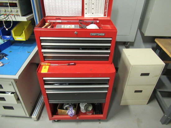 CRAFTSMAN ROLL AROUND TOOL BOX W/ASSORTED TOOLS