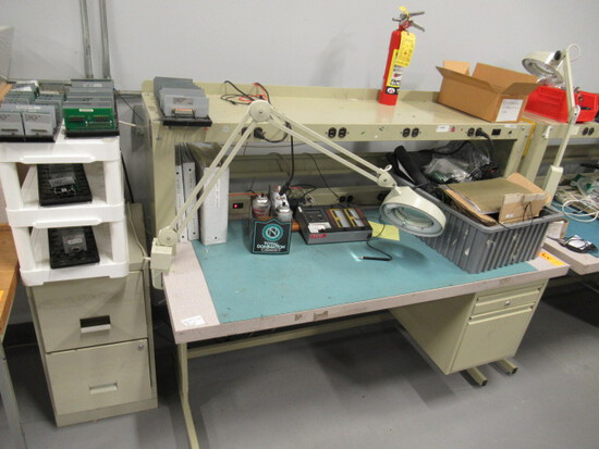 METAL WORK STATION W/ASSORTED ELECTRONICS TESTING EQUIPMENT