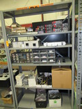 SECTION OF METAL RACKING W/ASSORTED ELECTRICAL COMPONENTS