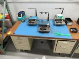 METAL DESK W/(3) ELECTROPREP MACHINES