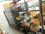 2 SECTION METAL RACK W/CONTENTS