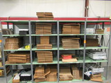 (4) SECTIONS OF METAL RACKING W/ASSORTED SIZE UNUSED CARDBOARD BOXES