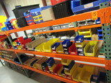 CONTENTS OF (3) SHELVES - ASSORTED SIZE PARTS BINS W/ASSORTED ELECTRICAL CO