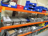 CONTENTS OF (3) SHELVES - ASSORTED PLASTIC TOTES W/ELECTRICAL COMPONENTS &