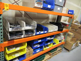 CONTENTS OF (3) SHELVES - ASSORTED SIZE PARTS BINS W/ELECTRICAL COMPONENTS