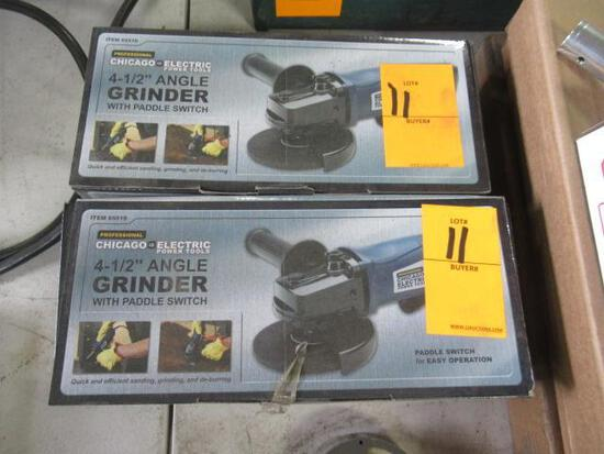 Pair Chicago Electric 4.5'' angle grinders. NIB