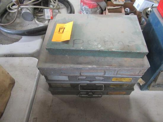 Five metal hardware bins w/contents