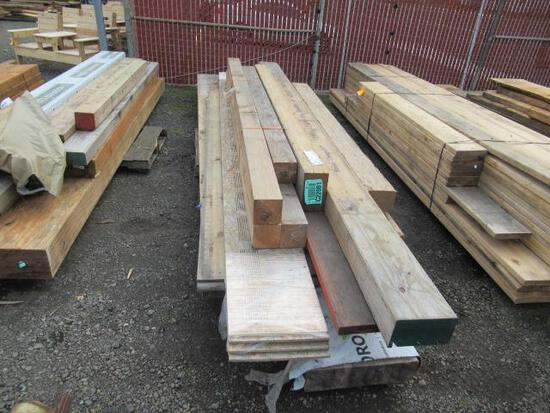 PALLET OF ASSORTED WOOD BEAMS & PLANKS