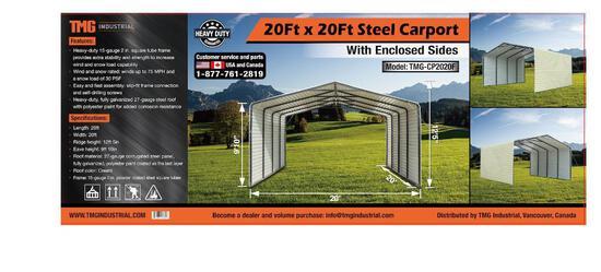 20' X 20' ALL-STEEL CARPORT W/ ENCLOSED SIDES (UNUSED IN BOX)