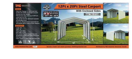 12' X 20' ALL-STEEL CARPORT W/ ENCLOSED SIDES (UNUSED IN CRATE)