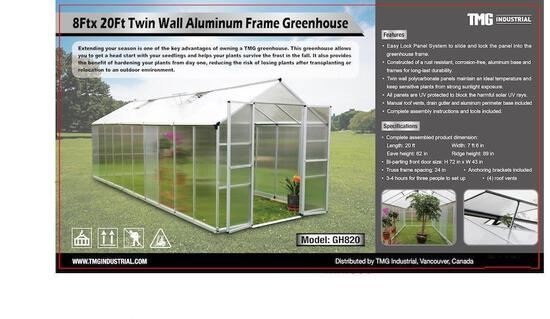 8' X 20' TWIN WALL GREEN HOUSE (UNUSED IN CRATE)