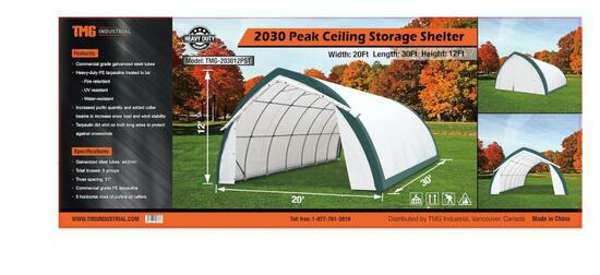 20' X 30' X 12' PEAK CEILING STORAGE SHELTER W/ COMMERCIAL FABRIC & ROLL UP DOOR (UNUSED IN CRATE)