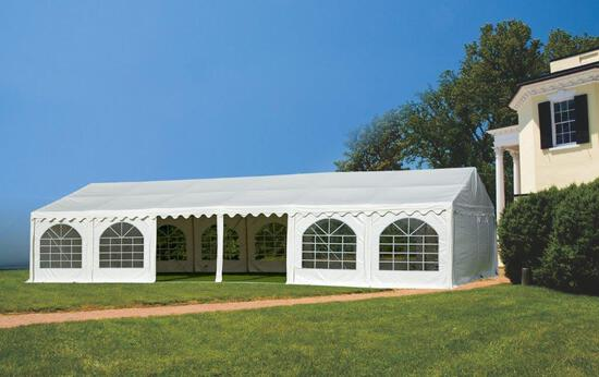 20' X 40' FULL CLOSED PARTY TENT (800 SQ FT. W/ DOORS, WINDOWS & 4 SIDE WALLS INCLUDED) (UNUSED IN