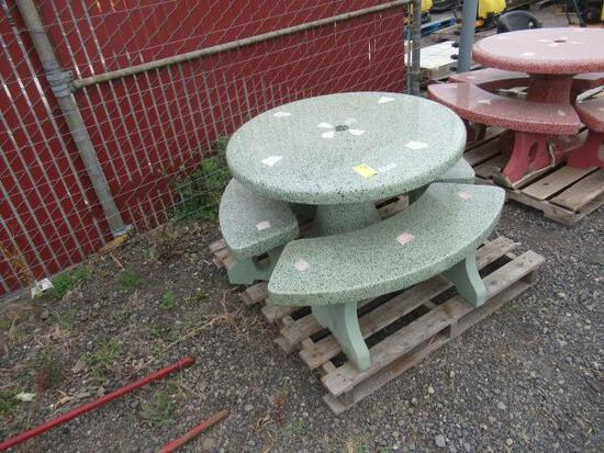 CONCRETE PATIO TABLE W/ (3) BENCHES (GREEN)