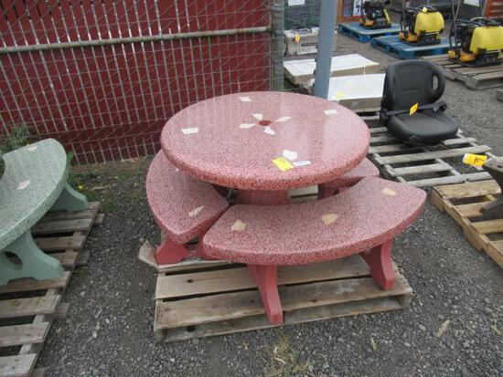 CONCRETE PATIO TABLE W/ (3) BENCHES (RED)