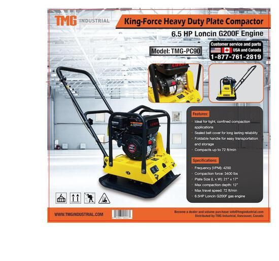 HEAVY DUTY PLATE COMPACTOR W/ 6.5 HP LONCIN ENGINE