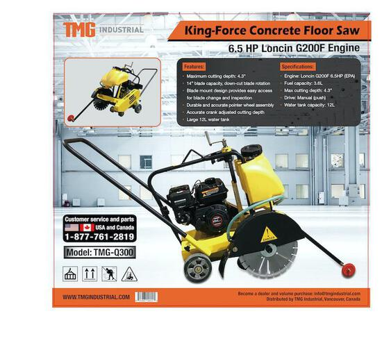 14'' CONCRETE FLOOR SAW W/ 6.5 HP LONCIN ENGINE