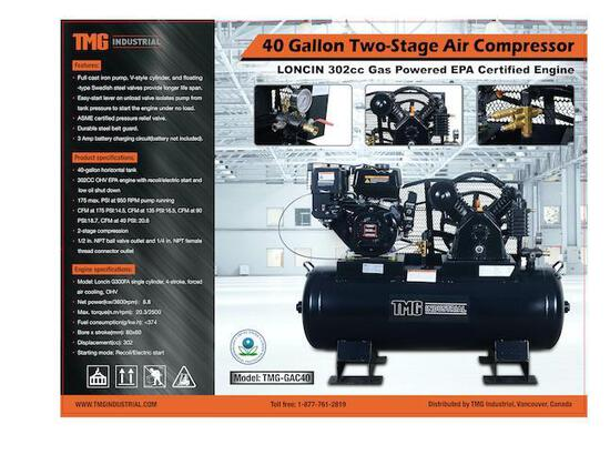 40 GALLON 2 STAGE 9 HP GAS POWERED AIR COMPRESSOR