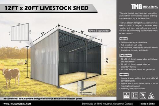 12' X 20' SKID MOUNTED LIVESTOCK SHED W/ PORTABLE SKID BASE