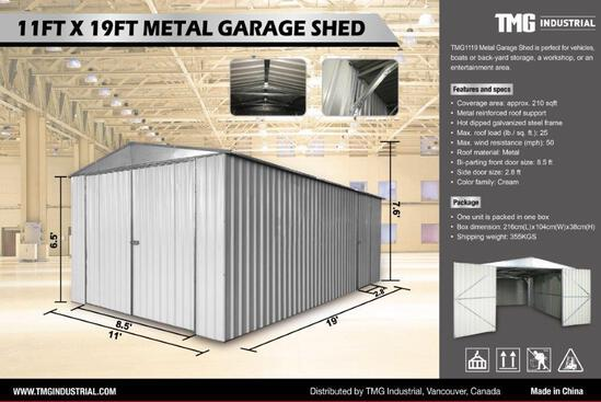 11' X 19' SINGLE GARAGE METAL SHED W/ BI-PARTING FRONT DOOR & SIDE DOOR