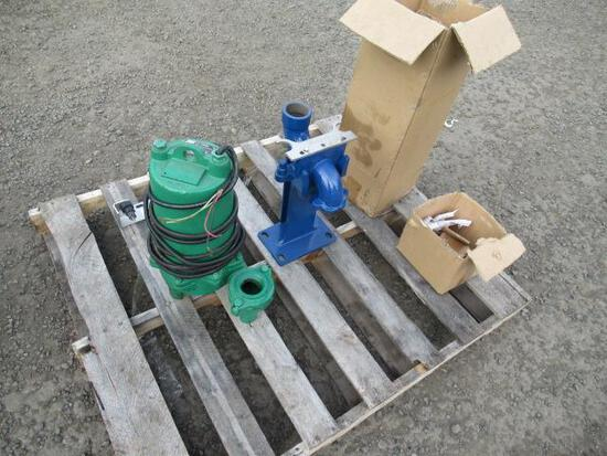MYERS WHR15H-23 SUBMERSIBLE WASTE WATER PUMP W/ FREEFLO BASE ELBOW RAIL SYSTEM