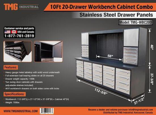 10' HEAVY DUTY 20 DRAWER STAINLES WORK BENCH CABINET COMBO (UNUSED)