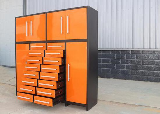 88'' MULTI DRAWER TOOL CHEST CABINET W/ 16 DRAWERS, 2 TOP CABINETS & 2 UPRIGHT SIDE CABINETS