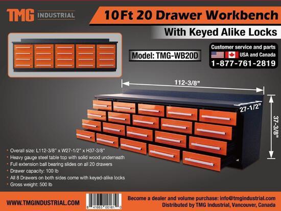10' HEAVY DUTY 20 DRAWER WORK BENCH (ORANGE) (UNUSED)