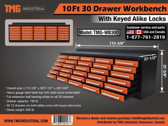 10' HEAVY DUTY 30 DRAWER WORK BENCH (ORANGE) (UNUSED)
