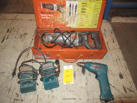 MAKITA CORDLESS DRILL W/ (2) CHARGERS (NO BATTERY) & BLACK & DECKER ELECTRIC RECIPROCATING SAW IN CA